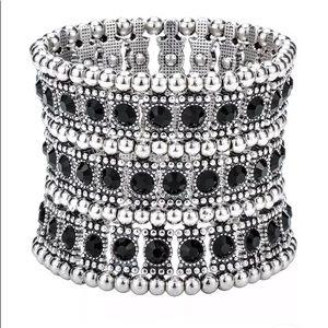 Crystal Multilayer Stretch Cuff Bracelet